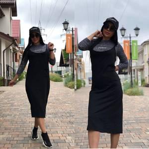 Платье Двойка длинное черное повседневное Т7860