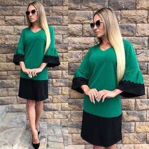 Платье короткое зеленое с кружевом Т7866