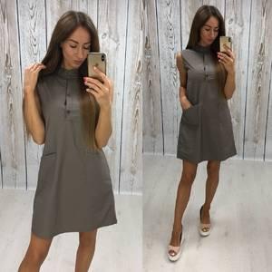 Платье короткое повседневное однотонное Т7806