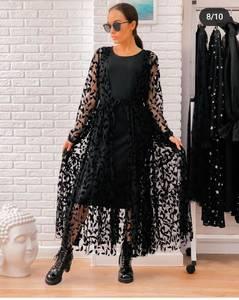 Платье длинное черное А04486
