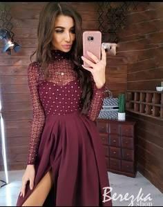Платье длинное с разрезом на ноге А09647