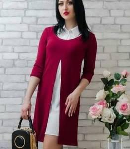 Платье Двойка короткое красное современное Т7809