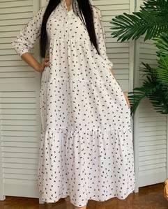 Платье длинное в горошек А50916