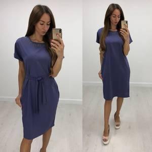 Платье короткое нарядное однотонное Т7842