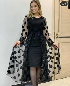 Платье длинное черное А04487