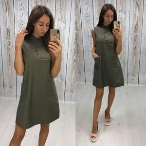 Платье короткое повседневное однотонное Т7807