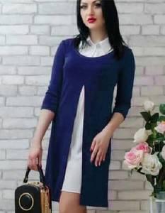 Платье Двойка короткое синее современное Т7810