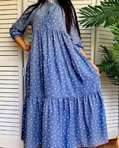 Платье длинное в горошек А50917