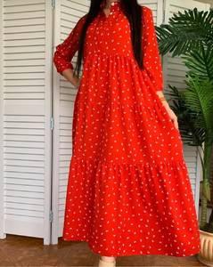 Платье длинное в горошек А50918