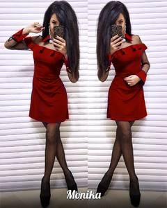 Платье короткое с длинным рукавом Ш3008