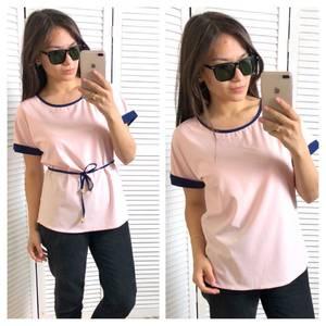 Блуза розовая с коротким рукавом Т4322