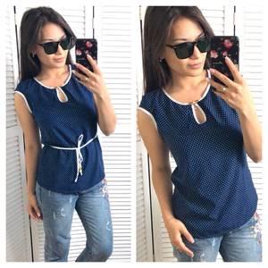 Блуза синяя в горошек Т1431