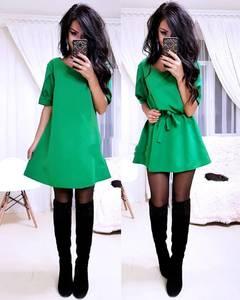 Платье повседневное с рукавом 3/4 однотонное У0829