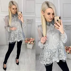 Блуза с длинным рукавом с кружевом Х0055