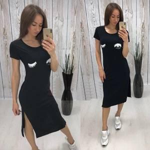 Платье футболка длинное черное Т5214