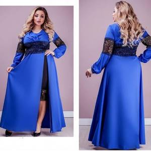 Платье длинное синее Ю2491