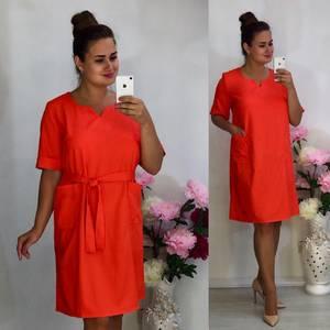 Платье короткое повседневное красное Т7959