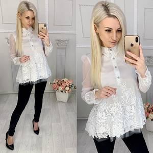 Блуза с длинным рукавом с кружевом Х0057