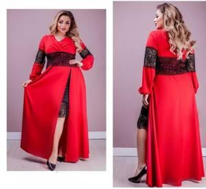 Платье длинное красное Ю2490