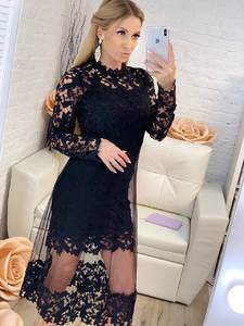 Платье длинное черное с длинными рукавами Х1203