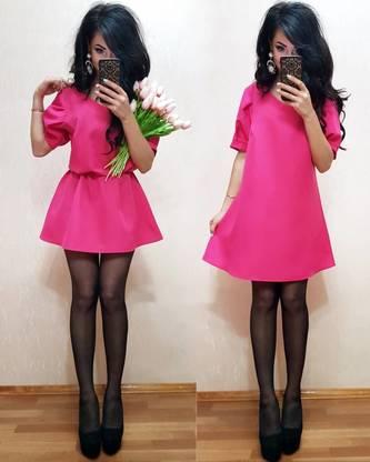 Платье короткое классическое однотонное Т8000