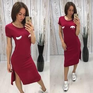 Платье футболка длинное красное Т5216