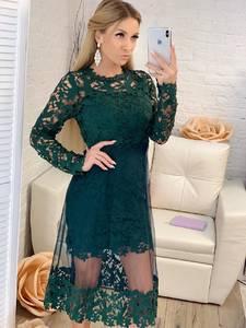 Платье длинное зеленое с длинными рукавами Х1204