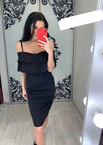 Платье короткое нарядное черное Х7703