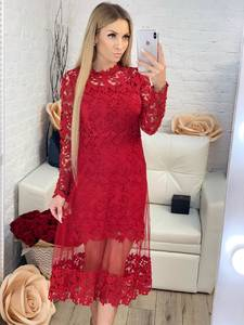 Платье длинное красное с длинными рукавами Х1201