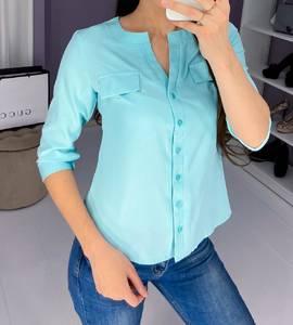 Блузка с длинным рукавом голубая Ш9168