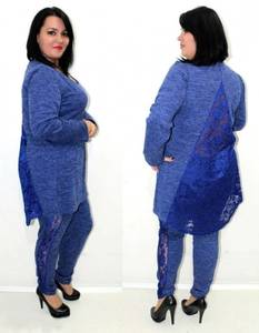 Костюм брючный трикотажный синий У6925