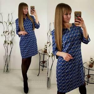 Платье короткое с принтом синее П1373
