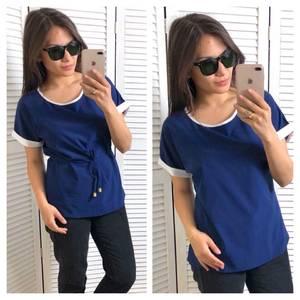 Блуза синяя с коротким рукавом Т4323