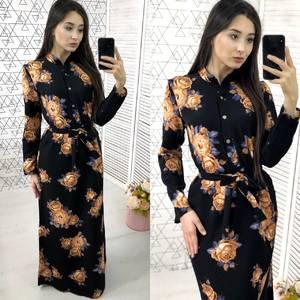 Платье длинное с принтом нарядное Х9586