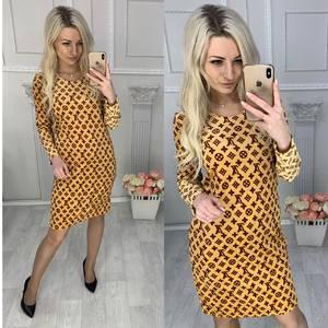 Платье короткое с длинным рукавом с принтом Х4250