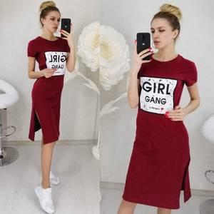 Платье короткое с принтом Ц3137