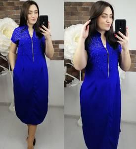 Платье короткое нарядное синее Х9186