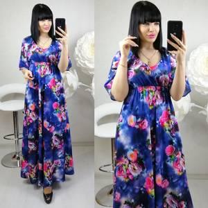 Платье длинное нарядное с принтом Ц0135