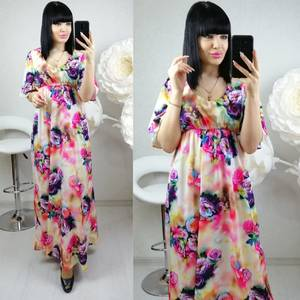 Платье длинное нарядное с принтом Ц0139