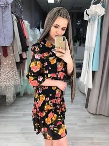 Платье короткое с рукавом 3/4 с принтом Х9566