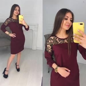 Платье короткое с длинным рукавом Ц2993