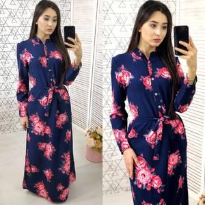 Платье длинное с принтом нарядное Х9588