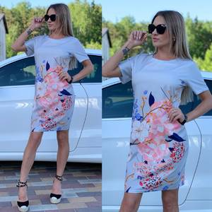 Платье короткое с принтом Ц7248