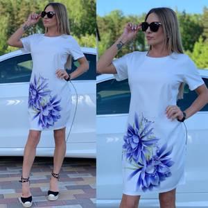 Платье короткое с принтом Ц7249