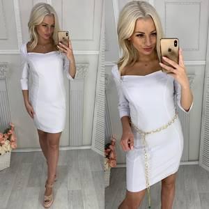 Платье короткое нарядное белое Ц0043