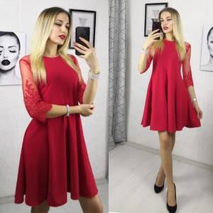 Платье короткое нарядное красное Ф9481