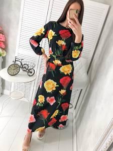 Платье длинное с принтом Ц2919
