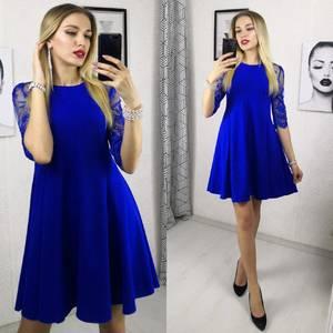 Платье короткое нарядное синее Ф9480