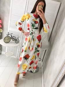 Платье длинное с принтом Ц2920