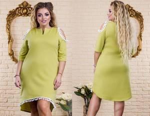 Платье короткое однотонное с кружевом Т8282